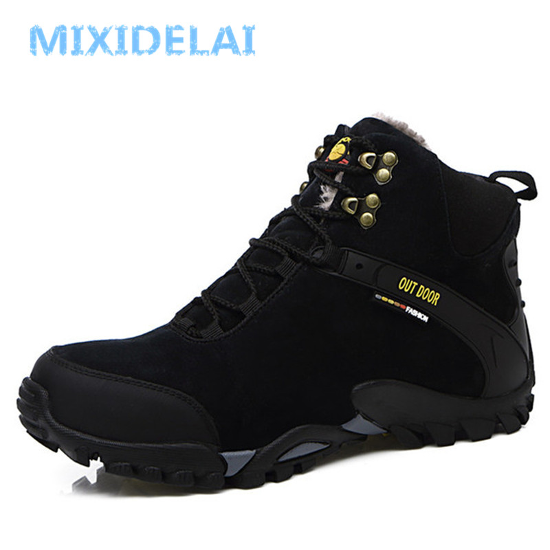 MIXIDELAI 2019 Winter Warm Fur Snow Boots Male Shoes For Men Adult Fashion Cow Suede Walking Work Ankle Footwear Sneakers