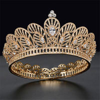 Baroque Queen King Round Crown Bride Headdress Zircon Tiaras Crowns Round Diadem Prom Bridal Hair Jewelry Wedding Crown Pageant