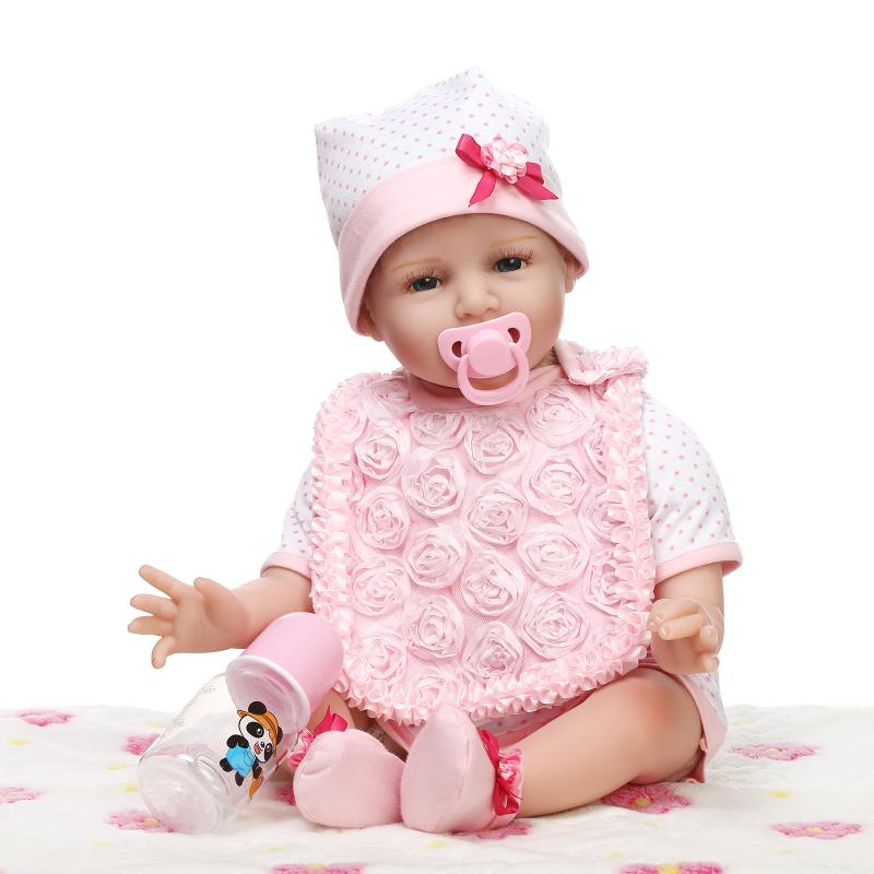 22inch Silicone Baby Reborn Smile Dolls Lifelike Newborn Girl Babies Toy for Child Pink Princess Doll Birthday Gift Brinquedos handmade 22 inch newborn baby girl doll lifelike reborn silicone baby dolls wearing pink dress kids birthday xmas gift