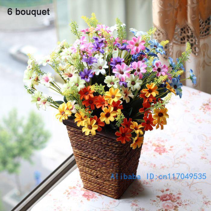 1 PCS букет жасанды шағын кресантема Daisy Silk Flower Home Party Decoration 6 Colors Available F15