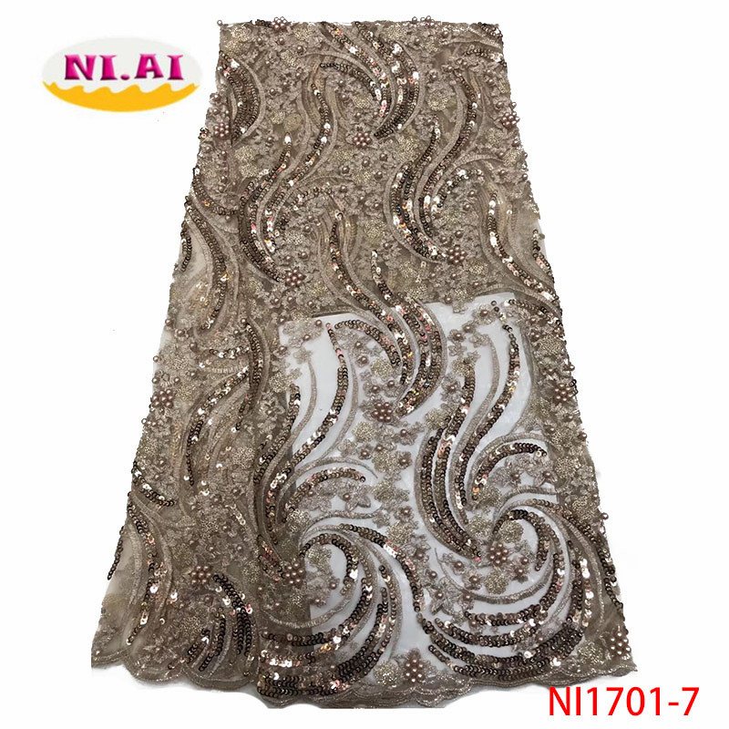 2019 New Design African Lace Fabric High Quality French Nigerian Beads Embroidered Tulle Lace Fabric With Sequins NI1701-7