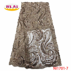 2020 New Design African Lace Fabric High Quality French Nigerian Beads Embroidered Tulle Lace Fabric With Sequins NI1701-7