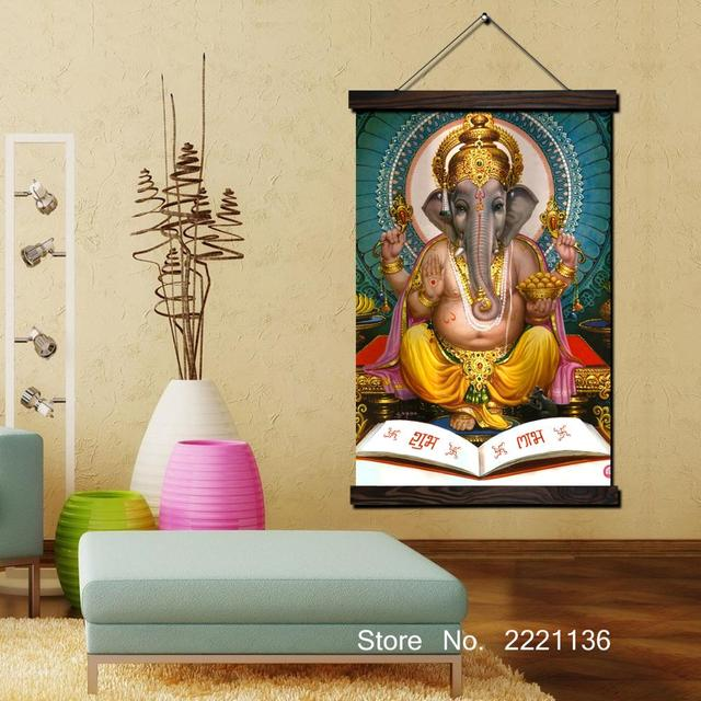 Copper like Buddha Artwork Scroll Painting HD Wall Art Hanging Canvas Painting HD Printed Pictures for Living Room Decoration-in Painting & ...