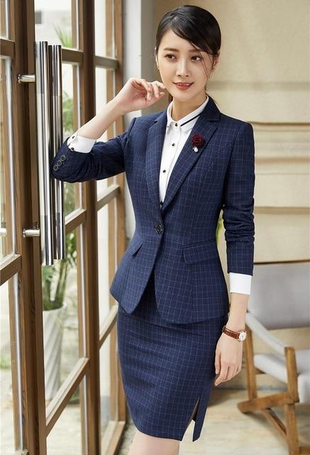 160e128eba Formais Feminino Saia Ternos para Mulheres de Negócio Ternos Blazer Xadrez  Azul e Conjuntos de Jaqueta
