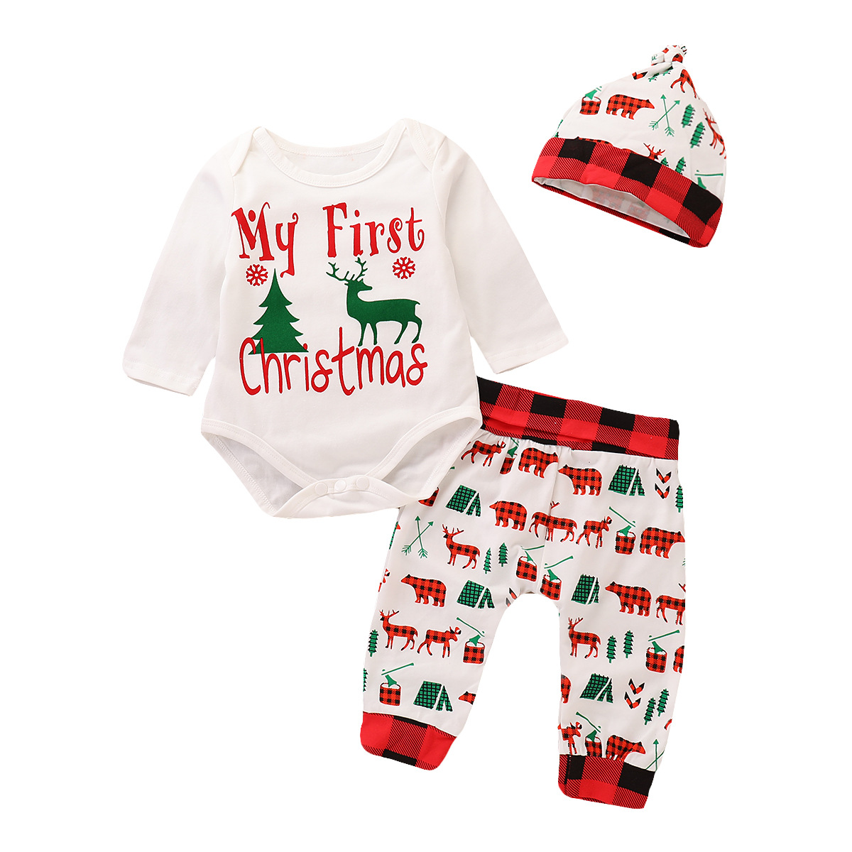 My First Christmas Baby Clothes Set Newborn Outfits Baby Girl Clothes Long Sleeve Romper Tops Deer Pant Hat Toddler Boy Clothing