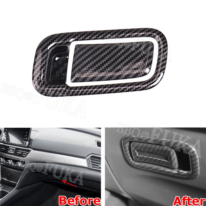 2pcs Carbon Fiber Color Car Passenger Side Glove Storage Box Trim Sticker Fit for <font><b>Honda</b></font> <font><b>Accord</b></font> <font><b>2018</b></font> Car <font><b>Accessories</b></font> Styling image