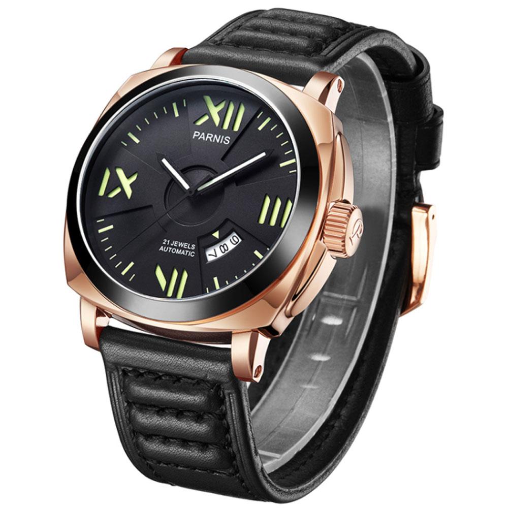 Nouveautés montres homme Top marque montre automatique de luxe Parnis 44mm montres mécaniques calendrier miborough lumineux 100 M natation