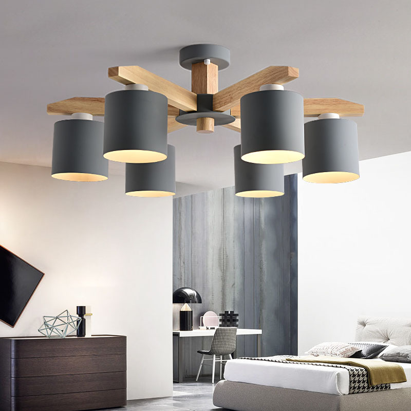 Modern Nordic solid wood LED ceiling Chandelier E27 With Iron Lampshade creative Lighting Fixtures Lamparas Colgantes