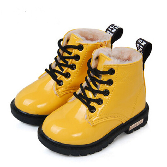 2016 Nuevo Invierno de Los Niños Zapatos de Cuero de LA PU Impermeable Martin Botas Niños Botas de Nieve Botas de la Marca de los Muchachos Botas De Goma Zapatillas de deporte de Moda
