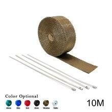 10M Thermal + 4 pcs Ties Wrap Exhaust Insulating Warp Header Warp Exhaust Pipe Warp (Max stand 500 Celsius)
