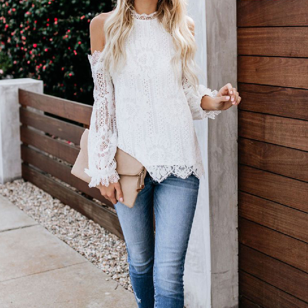 Sexy Cold Shoulder Women's Lace Blouse Top Black White Long Lantern Sleeve Shirts Ladies Summer Party Blouses Tops Woman