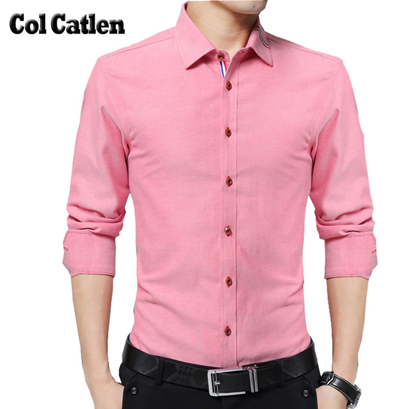 Nueva marca de moda camisas hombres Slim Fit negocio hombre camisa de vestir de alta calidad ocasional de manga larga rosa camisas sociales Masculina 5XL