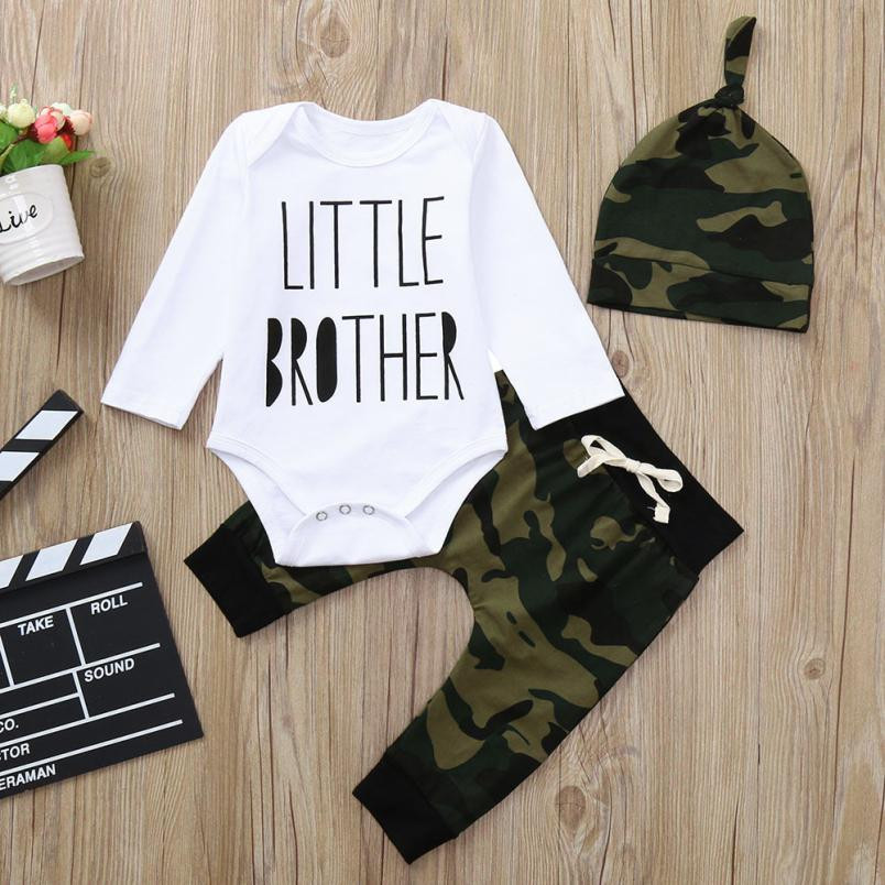 cea871cc3 2018 Army Green Toddler Newborn Baby Boys Clothes Letter T-Shirt Romper  Jumpsuit Camouflage Pants