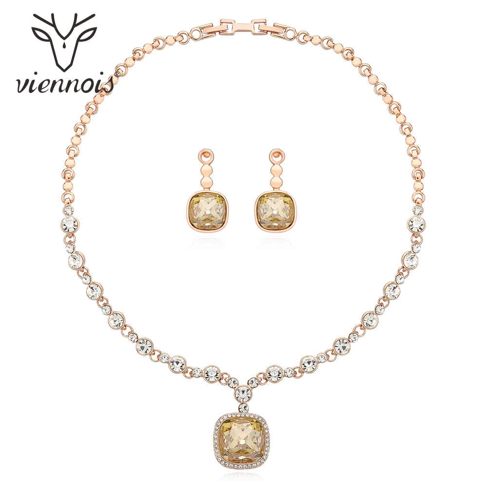 Viennois Light Orange Color Drop Earrings Necklace Set For Women Geometric Party Jewelry Set 2019