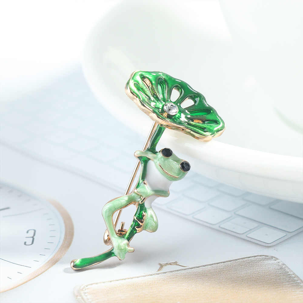 女性合金グリーン漫画蓮の葉カエル女性ブローチピンファッションジュエリーギフト素敵なブローチバッジ襟ピン