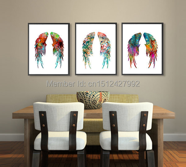 Angel Wings Wall Art 3 pcs modern home decoration wall art picture angel wings feather