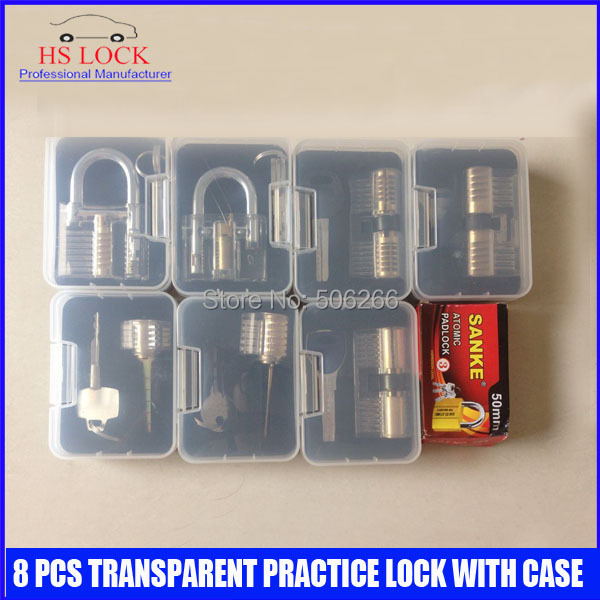 Hot sale 8 pcs transparent cutaways practice lock picks skilling set tools with Case locksmith tools set 2017 dhl free musical instruments professional henri selmer sax alto bronze saxophone alto sts r54 falling tune e f saxophone