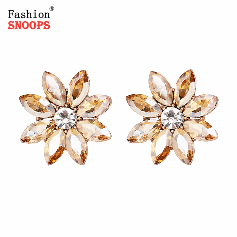 Vintage Big Rhinetsone Stud Earrings For Women Girls Brincos Full Crystal Turkish Jewelry Retro Pendientes