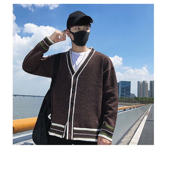 Check Button Cardigan Male Oversize Loose Streetwear (25)