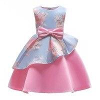 Irregular Party Dress Children Dress with Bowknot for Girls Printing Decoration Formal Dress Girls Summer Dress