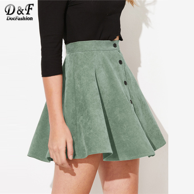 Image 4 - Dotfashion Solid Button Up Flare Cord Skirt Women 2019 Preppy Summer Casual Spring Ladies Fashion Mid Waist Short Skater Skirts-in Skirts from Women's Clothing