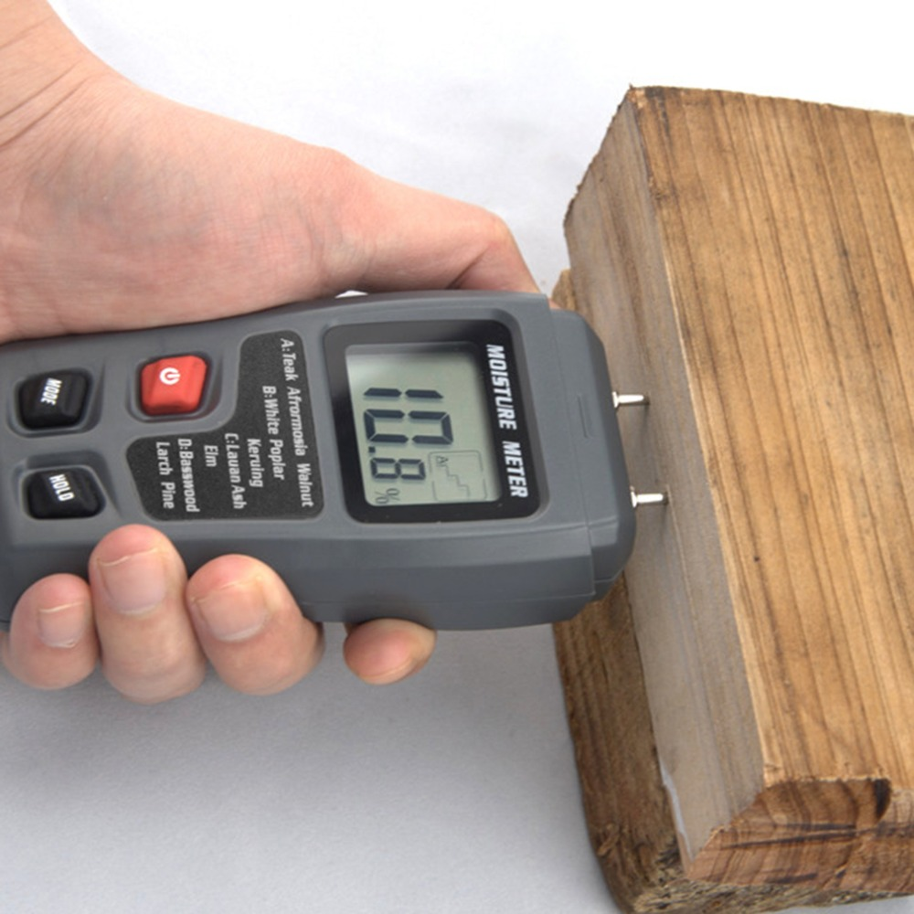 LCD 0-99.9% 2Pins Wood Industry Digital Moisture Meter Humidity Tester Timber Damp Detector Conductivity Moisture Hygrometer