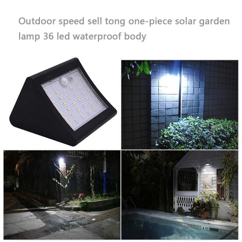 36LED Solar Powered Wall Light Outdoor Human Body Sensor Waterproof Street Yard Path Lamp Home Garden Security  Switch Spotlight