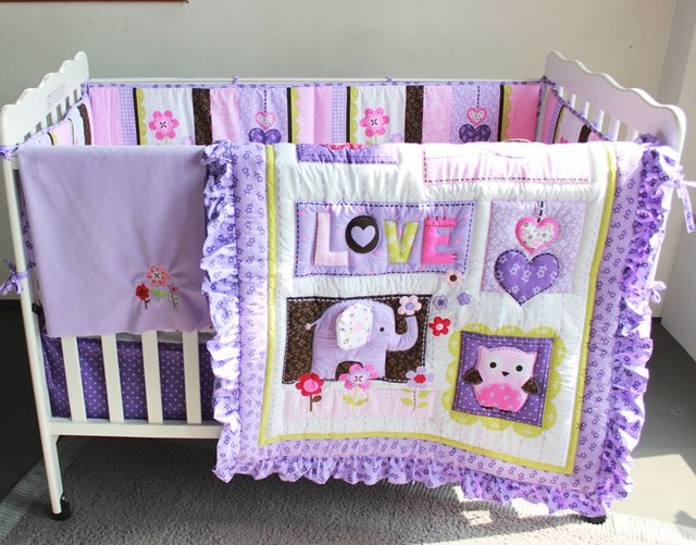 Promotion! 7PCS Purple Baby Bedding Sets for Cots,Baby Bedding Sets,Cot Bumper ,(bumper+duvet+bed cover+bed skirt)