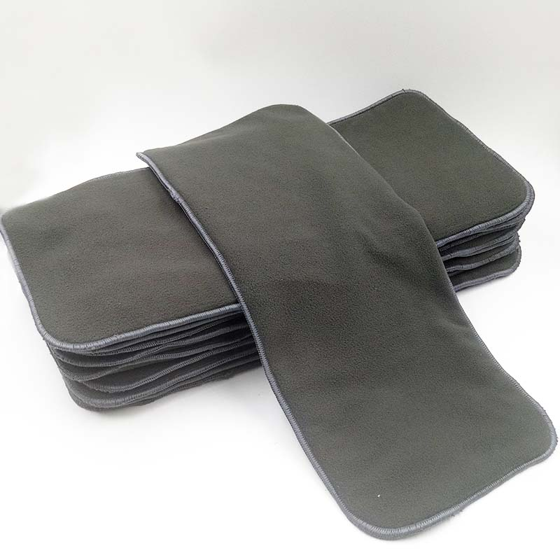 Super absorbent 5 layers bamboo charcoal insert for cloth adult diaper, 20*49cm washable adult diaper Inconvenience pants liner
