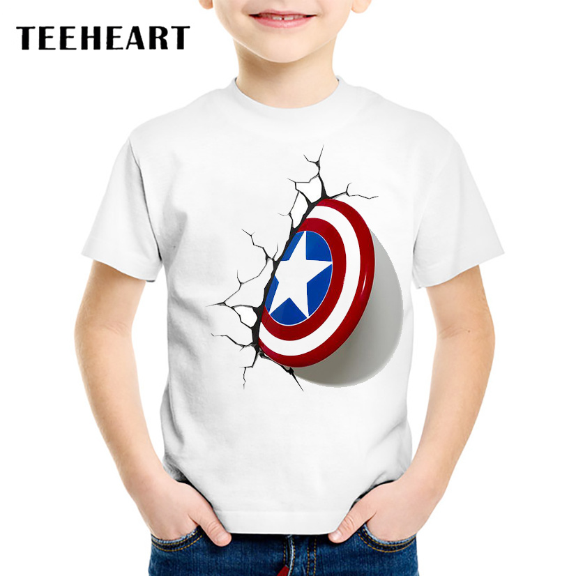 18M-10T 3D Captain America Shield Print T shirt For Boys/girls Summer Cartoon t-shirt for Children Baby Girls Clothing TA245