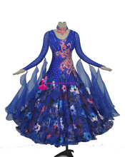Women Standard Ballroom Dance Costume Lady's High Quality Custom Made Blue Waltz Tango Flamenco Ballroom Competition Dance Dress
