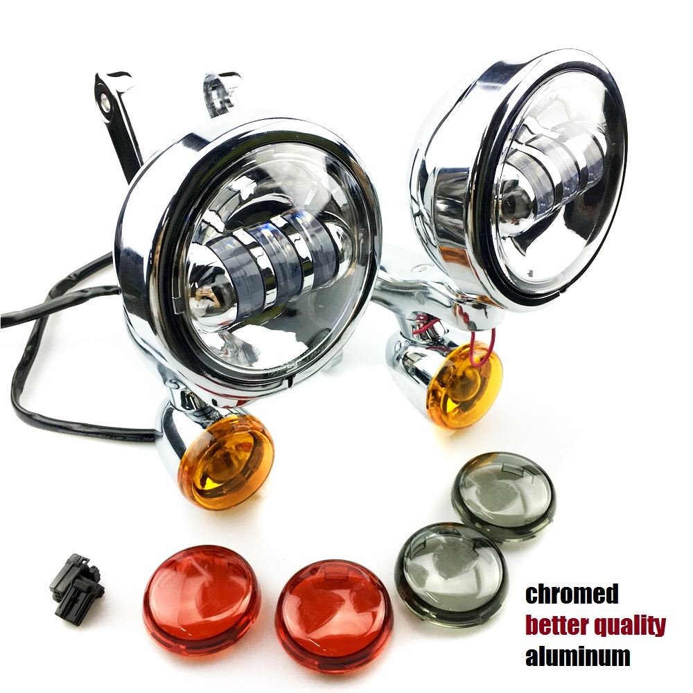 Auxiliaire Supports D'éclairage spotlight avec clignotants Pour Harley Touring Street Electra Glide 06-13 harley Auxiliaire brouillard lumière