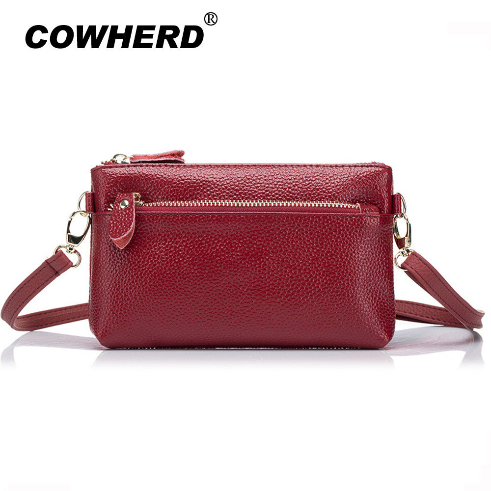 COWHERD New Arrival Fashion Genuine Leather Women Bag Messenger Bag Ladies Soft Cow Leather Crossbody Bags Day Clutches Bags