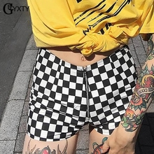 Front Zipper Plaid checkered Short Pants SF