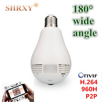 180 Wide Angle Fisheye Security IP Camera Wireless Mini CCTV Camera Bulb Camera Wifi 720P Night
