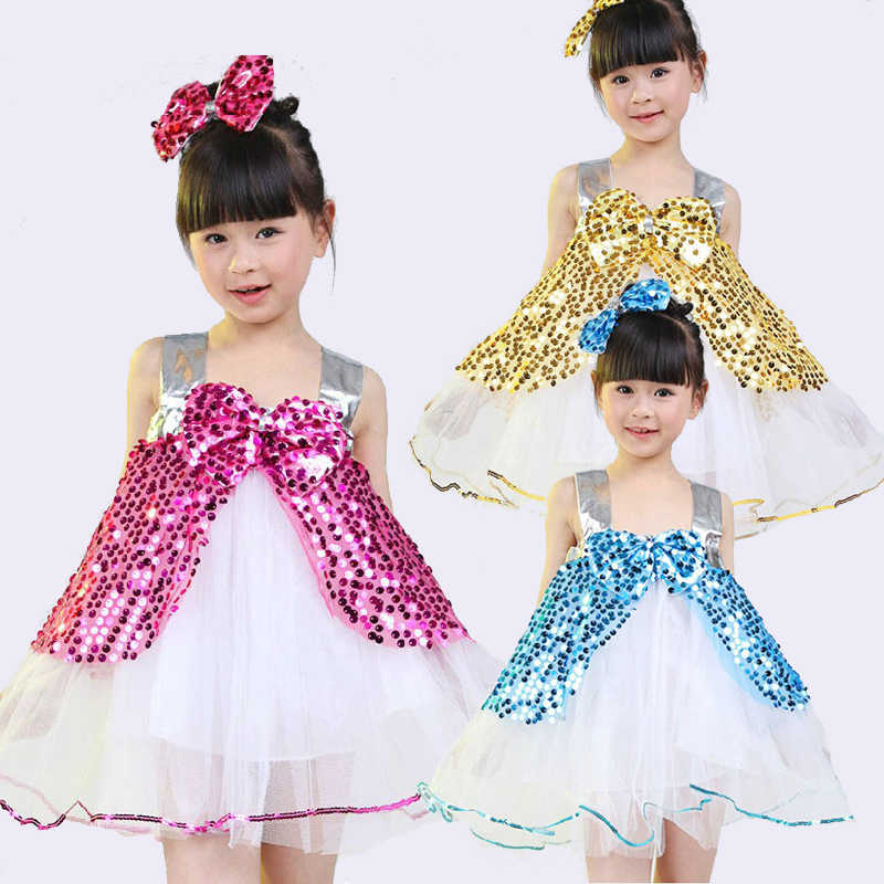 Girls Flower Dress For Children Dance Perform Clothing Kids Sequin Tutu Ballet Costumes For Dance Leotard Girl Dancewear