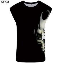 KYKU Skull Tank Top Men Black Ftness Clothes Punk Rock Undershirt Bodybuilding Mens Clothing Muscle Sleeveless Shirt 2018 New