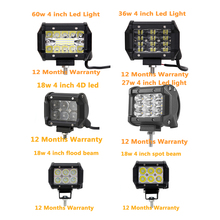 ECAHAYAKU  4 inch 4D 18W 27W 36W 60W LED work light bar for Auto 4X4 4WD Truck SUV ATV Trailer Pickup led Fog Lamp Car Styling