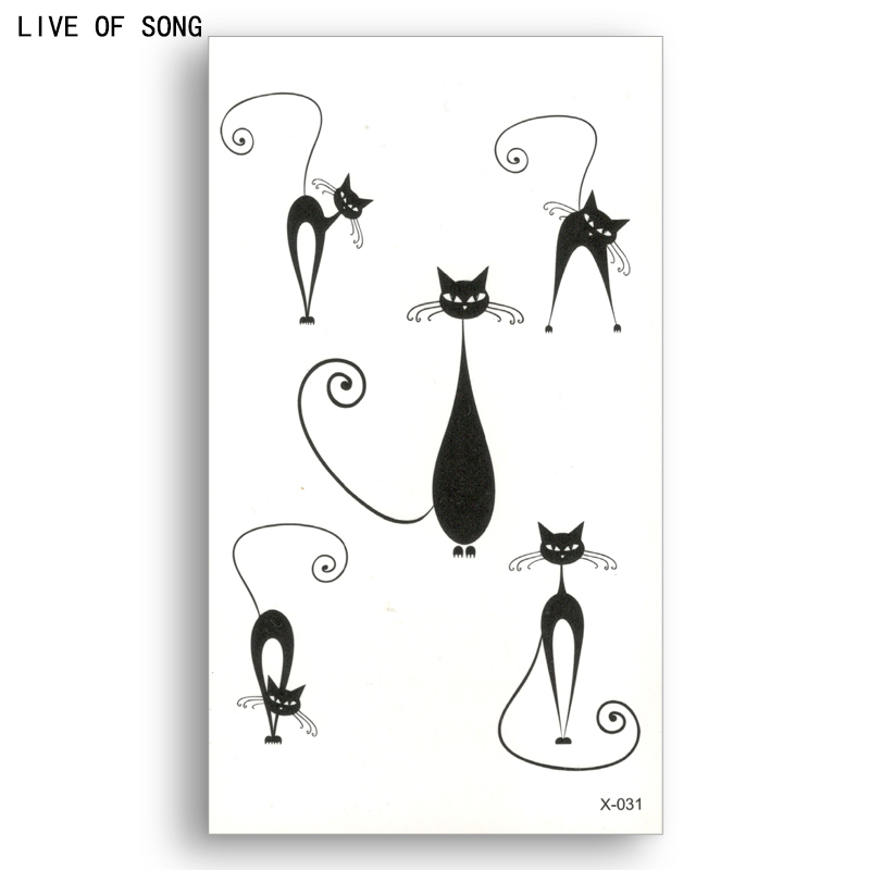 Fake temporary tattoo Water Transfer Black lines naughty cats Sticker Men Women Beauty Sexy Cool Body Art Live of Song X031