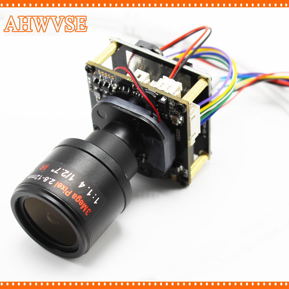 AHWVSE 4pcs/lot Ultra Low Illumination 1920*1080P 720P 960P HD POE IP camera module board 2.8-12mm Lens with LAN cable