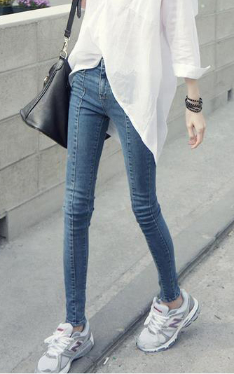 Hot Sale New South Korean High Waist Thin Buttock Stretch Tight Jeans Female Feet Tide Pants Plus Size Lm0517 In Jeans From Womens Clothing Accessories