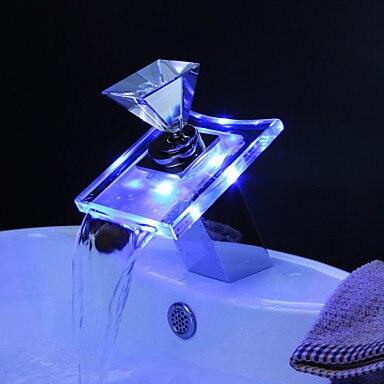 Bathroom Faucet Color Changing Glass LED Water Basin Faucet Tap,Torneira Para De Banheiro color changing led waterfall tap for bathroom sink faucet torneira para de banheiro