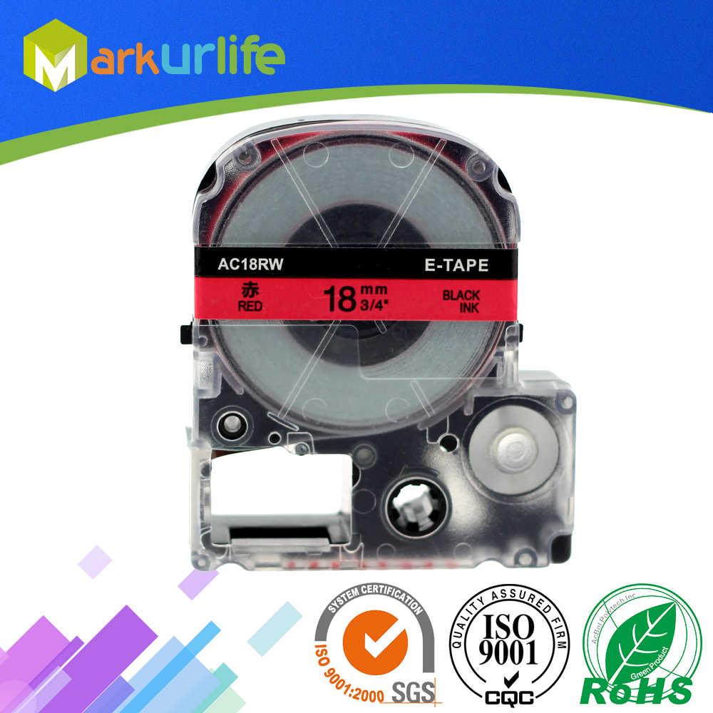 1 sztuk/partia kaseta magnetofonowa kompatybilny dla EPSON LW-300 LW-400 LW-600P LW-700 LC-4WBN9 drukarki (18mm x 8 m, w kolorze czarnym na czerwonym) gorąca sprzedaż