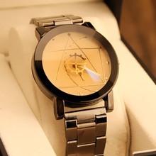 Новые Классические модный бренд Круглый циферблат черный пару часов Для мужчин Роскошные Нержавеющаясталь Повседневное кварцевые часы Relógio Masculino часы