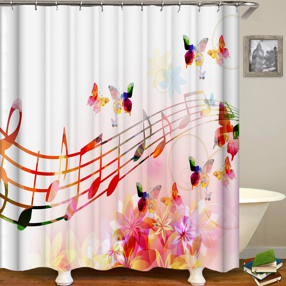 Image 4 - Cortina De Bano Musica Shower Curtain Music Band Jazz Cortina De Ducha Musical Instruments Bathroom Curtain Rock Dance Sound-in Shower Curtains from Home & Garden