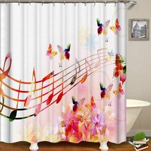 Image 4 - Cortina De Bano Musica Shower Curtain Music Band Jazz Cortina De Ducha Musical Instruments Bathroom Curtain Rock Dance Sound