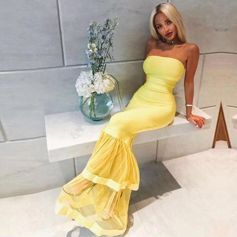 Adyce Elegant Yellow Club Dress H5327