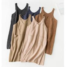 2016 winter women's sweaters Korean style solid sleeveless knitted woolen long pullovers women sweaters and pullovers