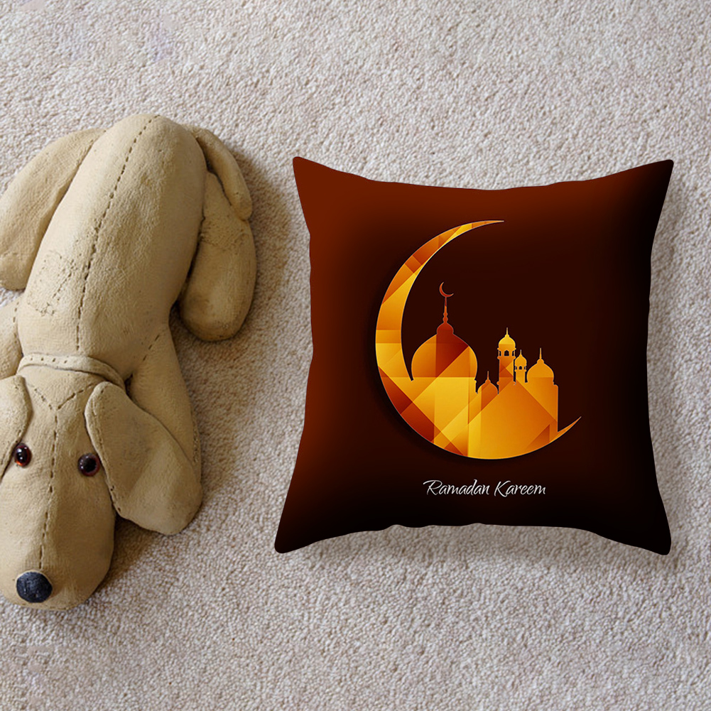 Islamic Eid Mubarak Decorations For Home Pillowcase Ramadan Decor Cotton Muslim Mosque Decorative  45X45CM