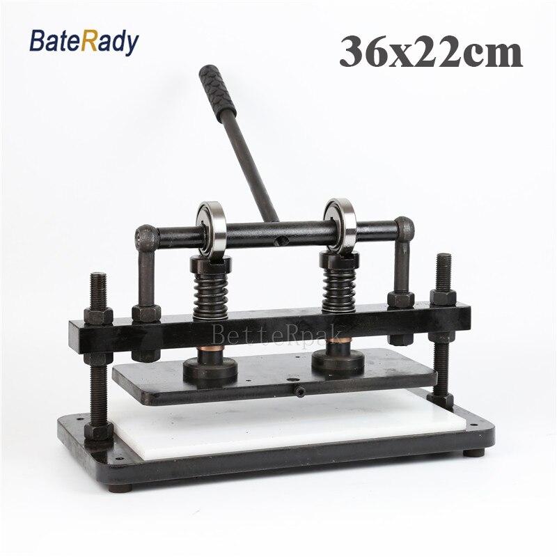 36x22 cm Dupla Roda mais Mão máquina de corte de couro, BateRady foto papel, folha DO PVC cortador, morrem máquina de corte de couro
